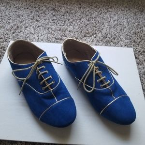 Blue Suede lace up shoes